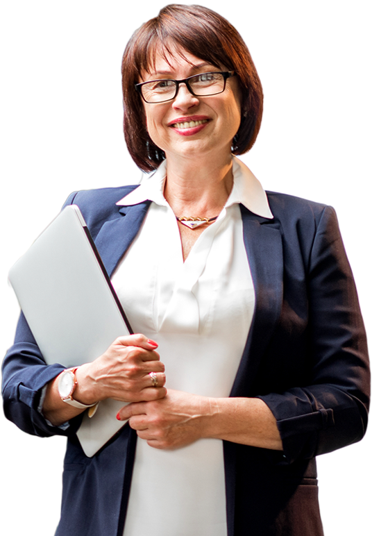 Woman smiling and holding a clipboard in her arms