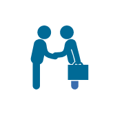A male stick figure shakes hands with another male sick figure with a briefcase. Icon.
